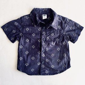 Light Navy Blue Floral Print Button Down Shirt